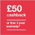 £50 cashback or 3 year warranty Icon